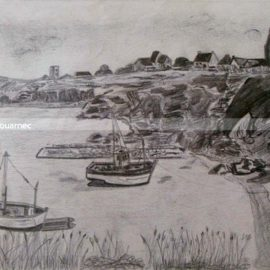 Jean Paul Scouarnec Port de Houat bateaux peche a sec dessin crayon