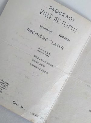 Menu-paquebot-compagnie-generale-transatlantique-Ville-Tunis-Marseille-1960-2