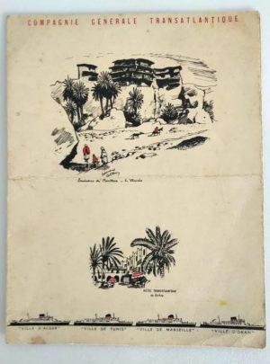 Menu-paquebot-compagnie-generale-transatlantique-Ville-Tunis-Marseille-1960