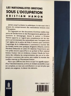 Les Nationalistes Bretons Sous L Occupation Kristian Hamon Verdi Editions