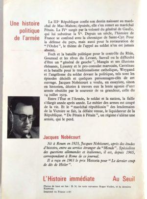 Une histoire politique de l'armée – 1919-1942 – J. NOBÉCOURT